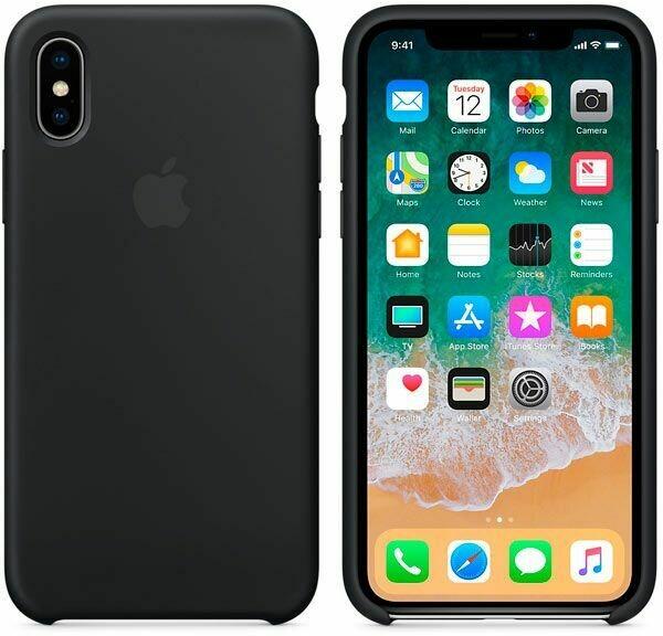Чехол Apple iPhone X Silicone Case Black (черный)