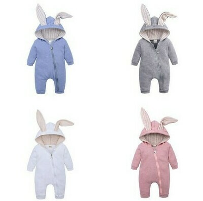 Bunny Ear Baby Rompers Cotton Hoodie