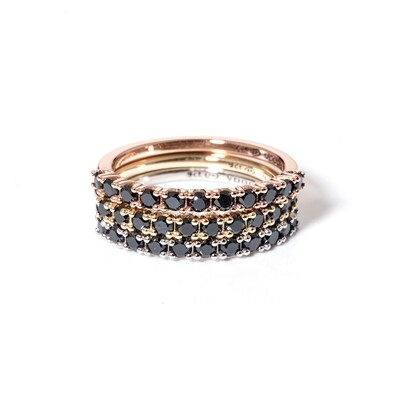 Half-Eternity Black Diamond Ring | 2mm