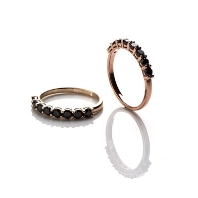 Half-Eternity Black Diamond Ring | 3mm