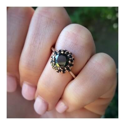 Black Diamond Double Halo Ring