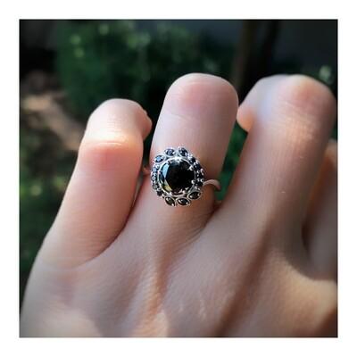 Black Diamond Marquise Halo Ring