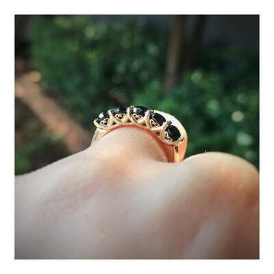 Crown Black Diamond Ring