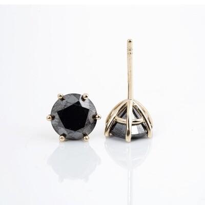 Round Brilliant-cut Black Diamond Studs   7mm