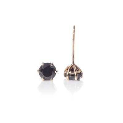 4mm Round Brilliant-cut Black Diamond Studs