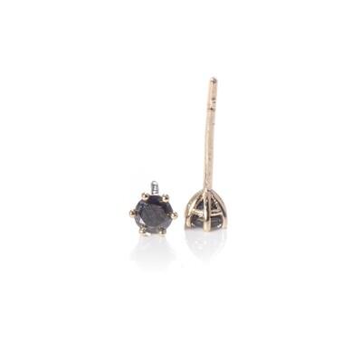 3mm Round Brilliant-cut Black Diamond Studs