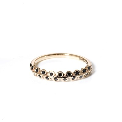 Naamah Yellow Gold Black Diamond Ring