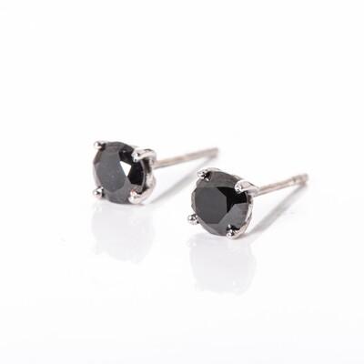 Round Brilliant-cut Black Diamond Studs