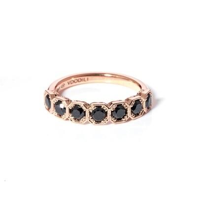 Harmony Rose Gold Black Diamond Ring
