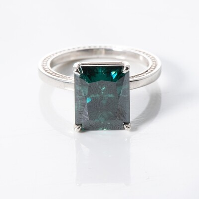 Sterling Silver Green/Blue Moissanite Solitaire Ring