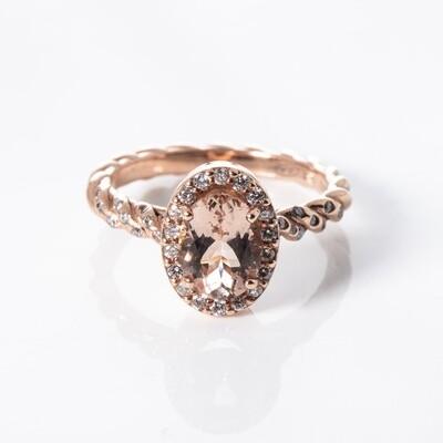 9K Rose Gold Oval Morganite Ring