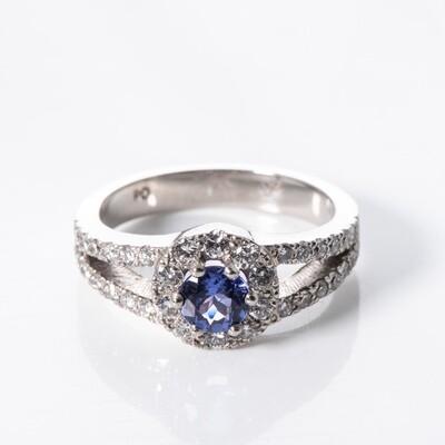 Palladium Round Brilliant-cut Tanzanite Ring
