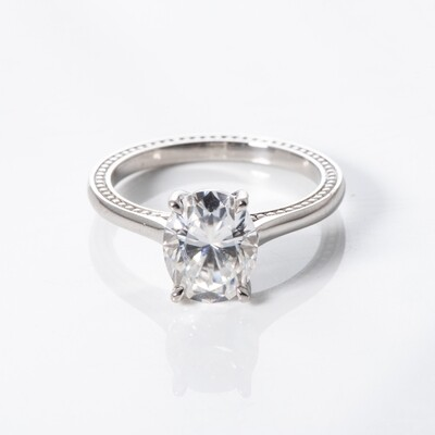 Platinum Moissanite Solitaire Ring