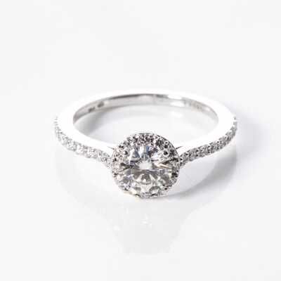 18K White Gold Halo Moissanite Ring