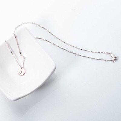Square-bead Silver Necklace