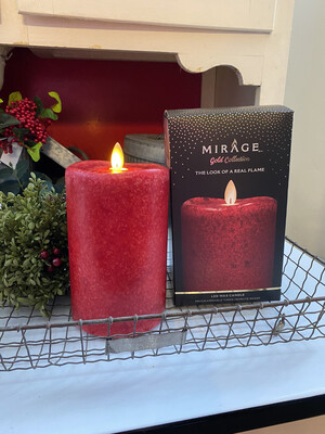 Mirage Flameless Candle 6in/Mottled Red !
