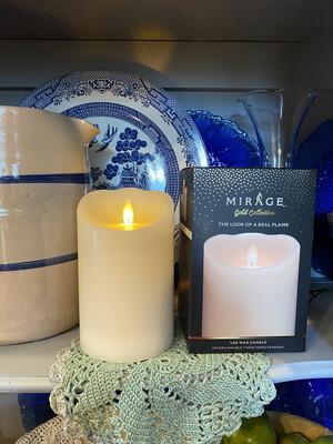Mirage Flameless Pillar Candle 6in/ Cream