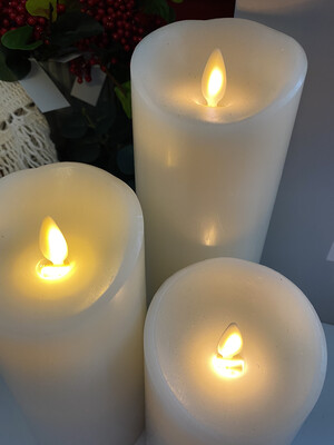 Push Flame Set Of Three Candles  4.5in, 6in, 8in/Ivory