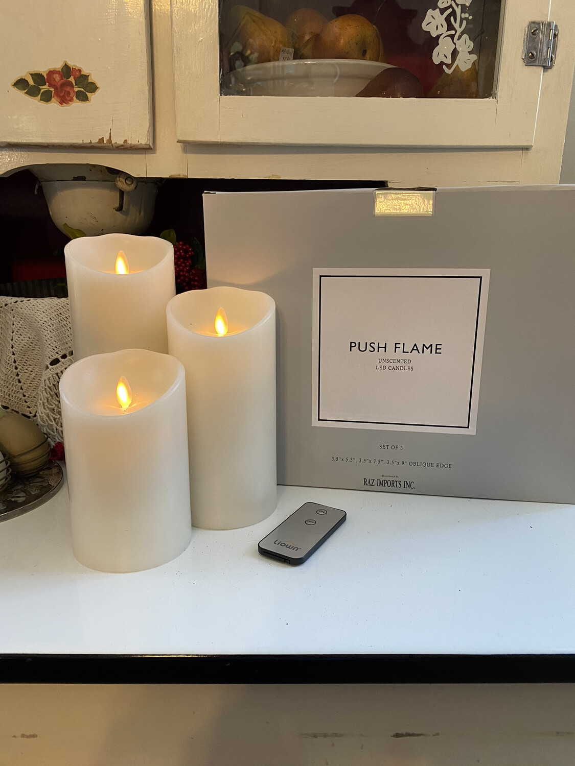 Push Flame Candles Set Of Three 5.5in, 7.5in and 9in/Ivory