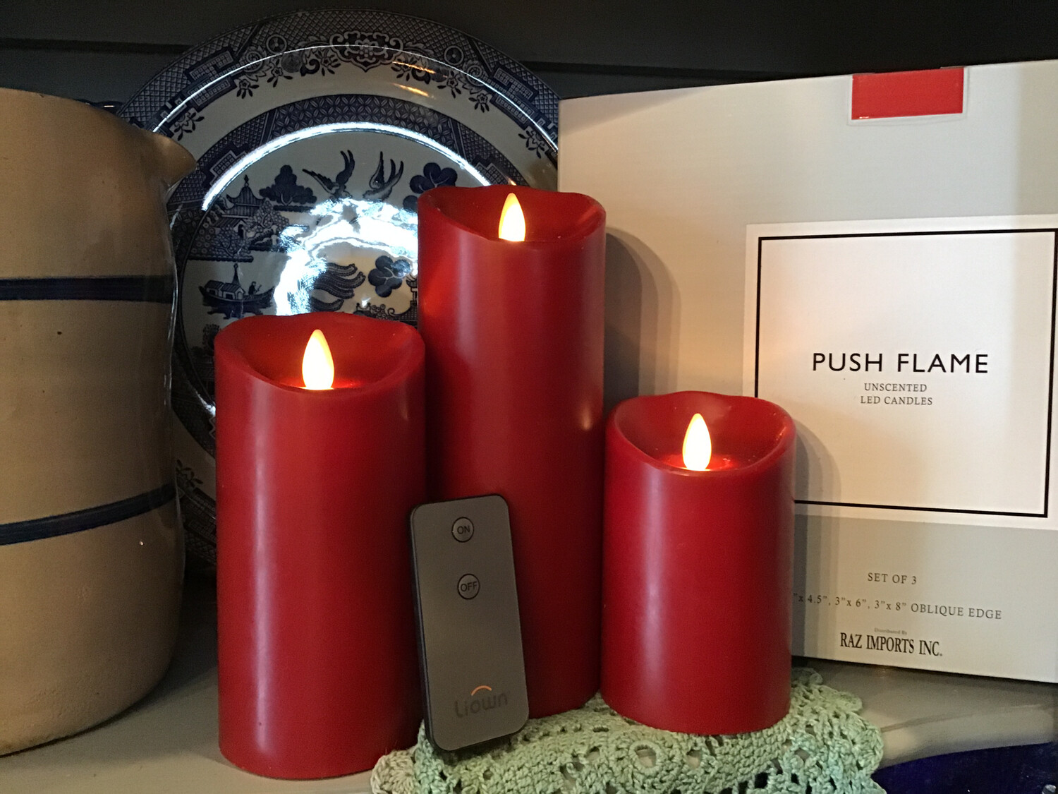 Push Flame Candles Set Of Three 4.4in, 6in And 8in/Red !
