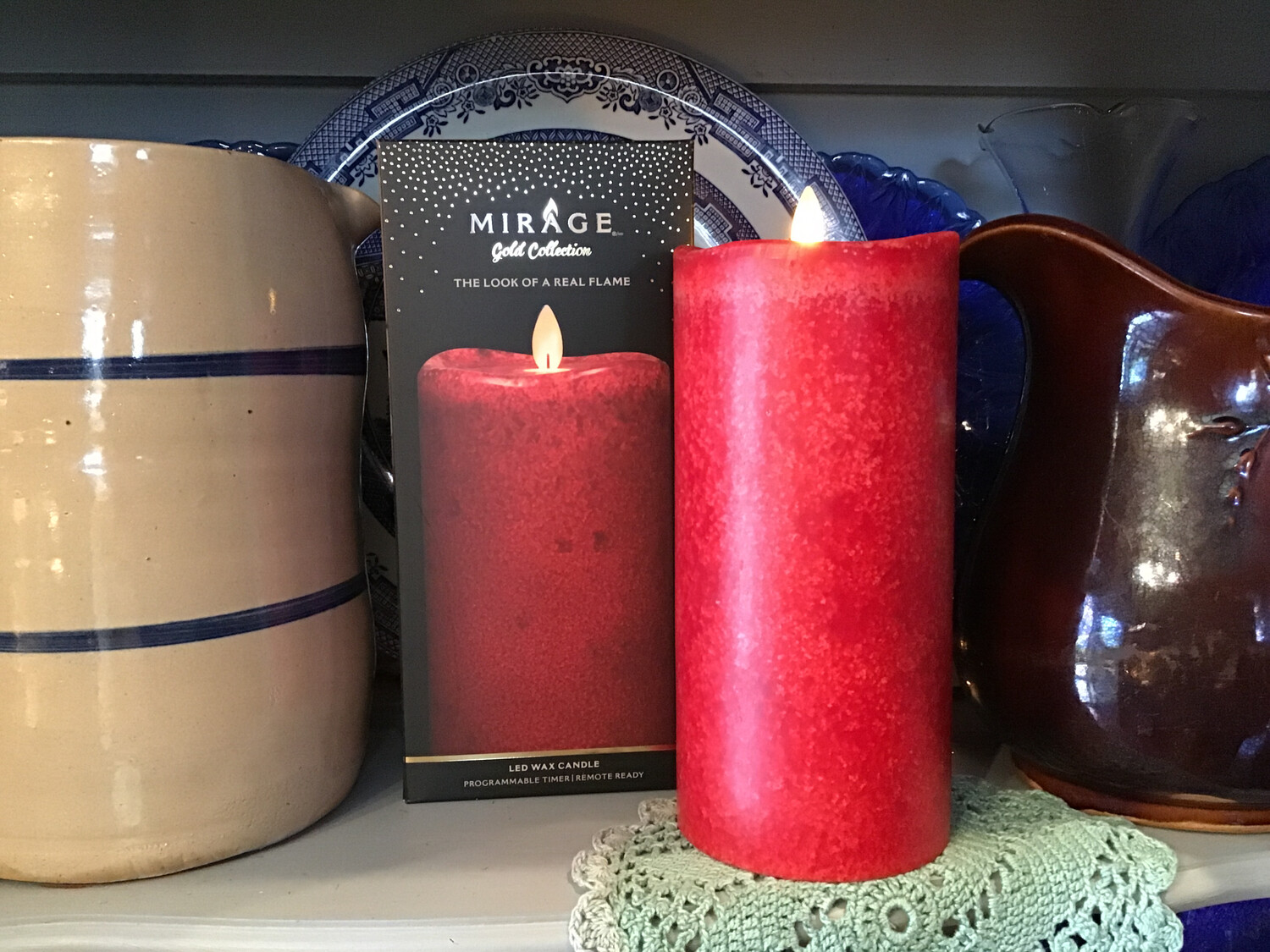 Mirage Flameless Candle 8in/Red !