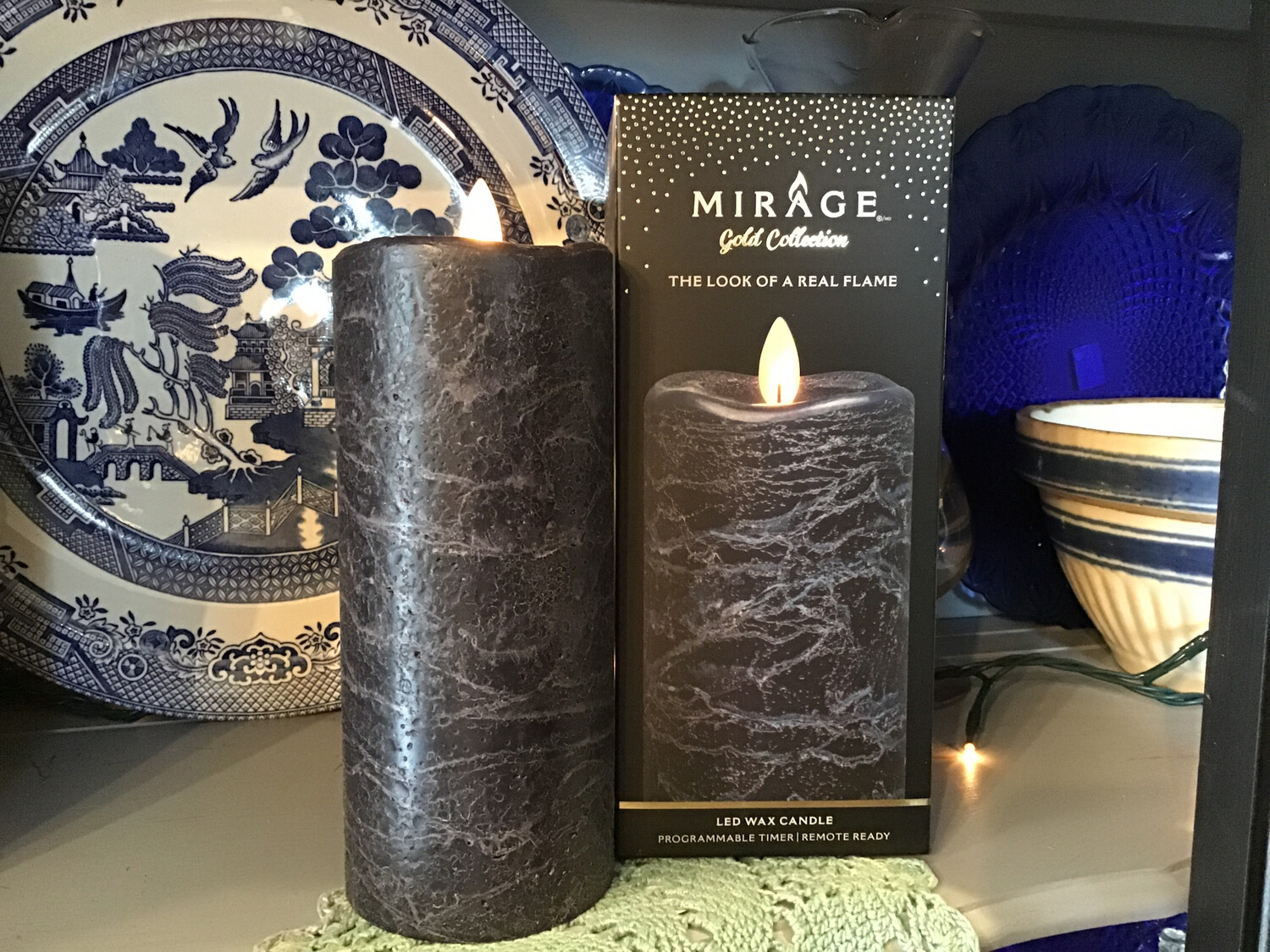 Mirage 3x7in Candle/Frosted Gray, Remote Ready