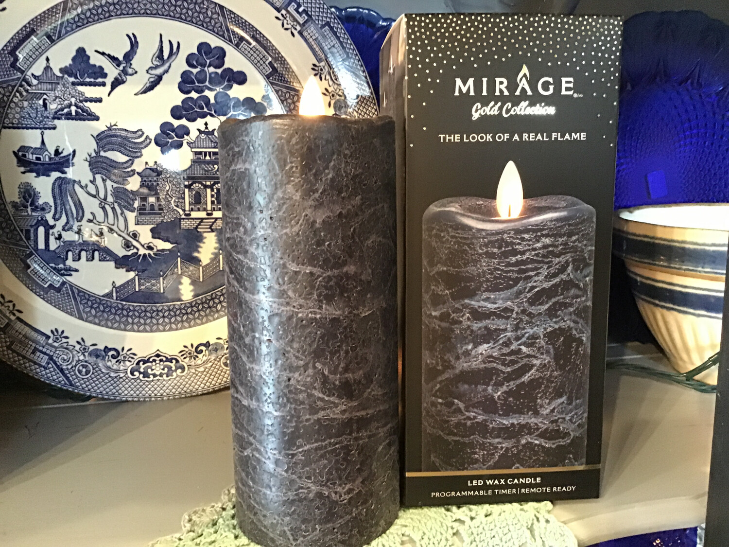 Mirage 3x7in Candle/Frosted Navy Blue, Remote Ready