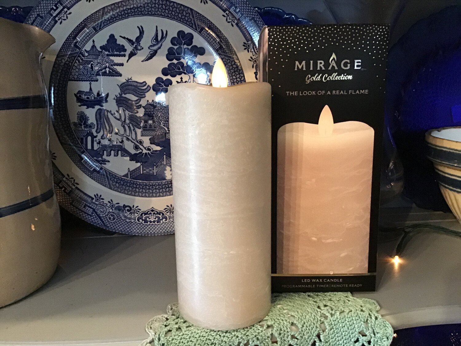 Mirage 3x7in Candle/Frosted Warm Sand, Remote Ready