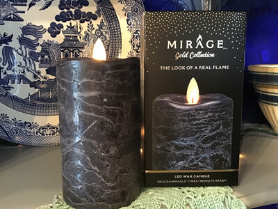 Mirage 3x5in Candle/Frosted Navy Blue, Remote Ready
