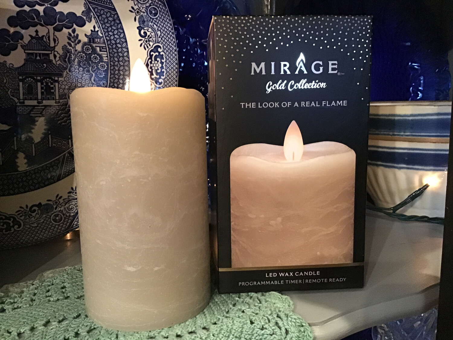 Mirage Pillar Candle 3in x 5in/Warm Sand Color