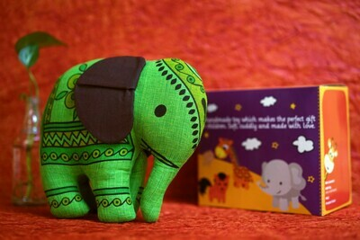Khadi Green Elephant Toy
