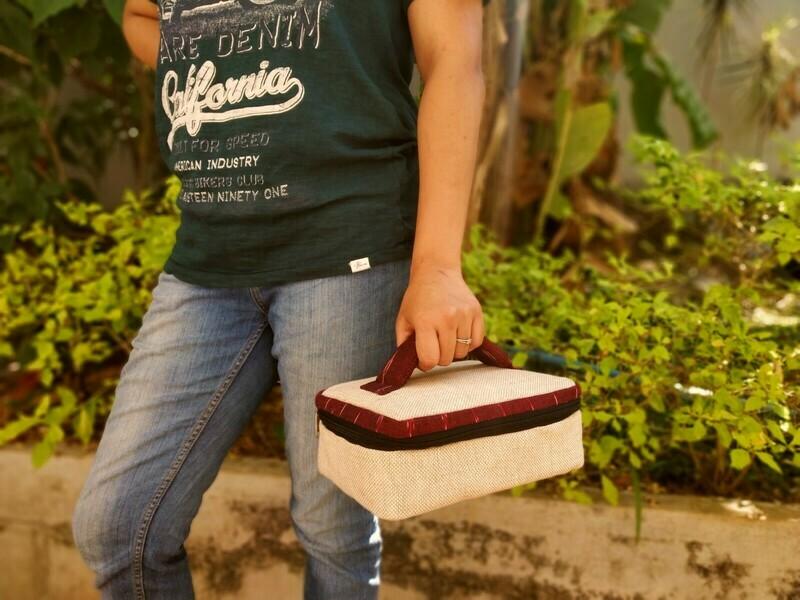 Rectangular Ikat Jute Lunch Bag