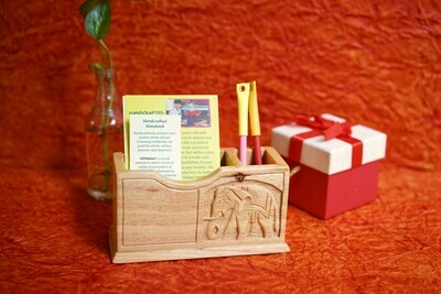 Wooden Carved Visiting Card Holder and Pen Stand