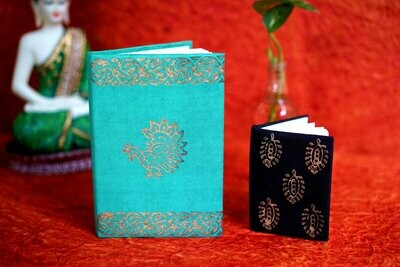 Block Printed Metalic Notebook  Assorted Colors