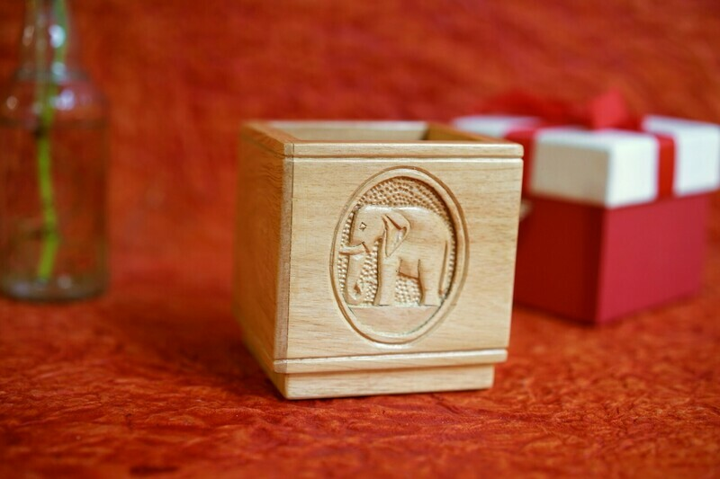Wooden Carved Square Pen Stand