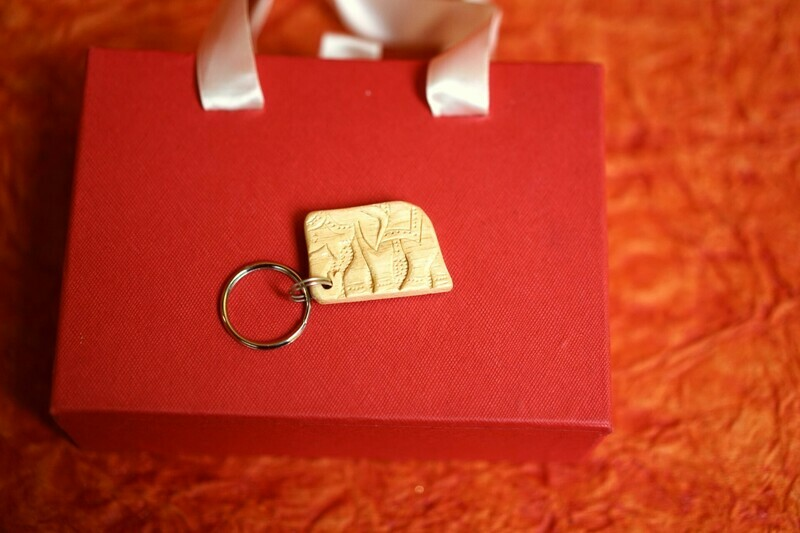 Wooden Elephant Carved Key chain