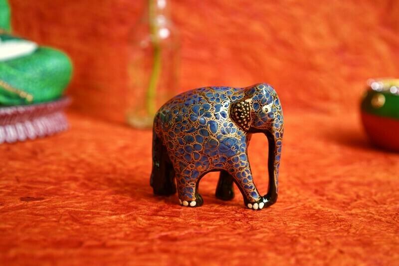 Kashmiri Elephant Figurine Assorted Colors