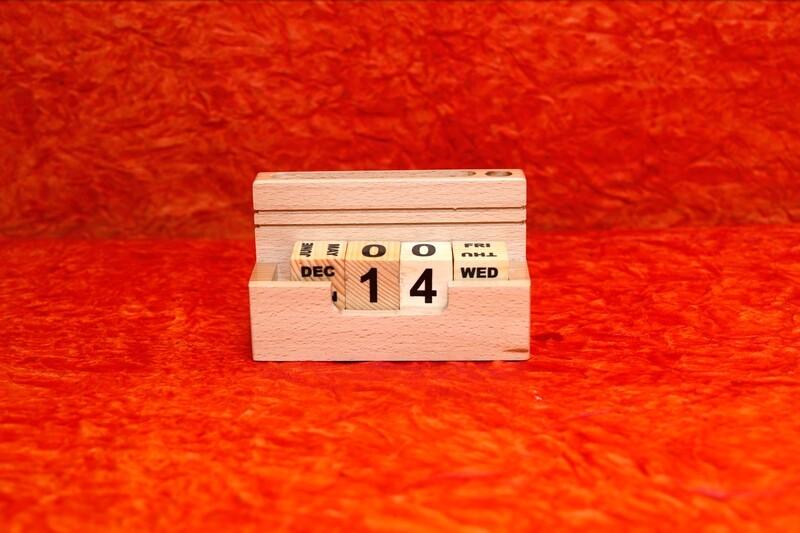 Wooden Calendar Block Organizer