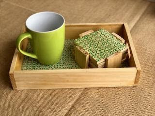 Coffee Tray with Coasters & Candle Stand