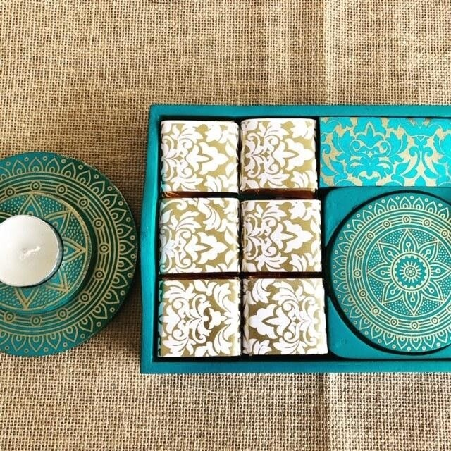 Coffee Tray with Coasters & Tea Light Holder