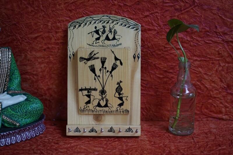 Wooden Warli Envelop Stand Holder