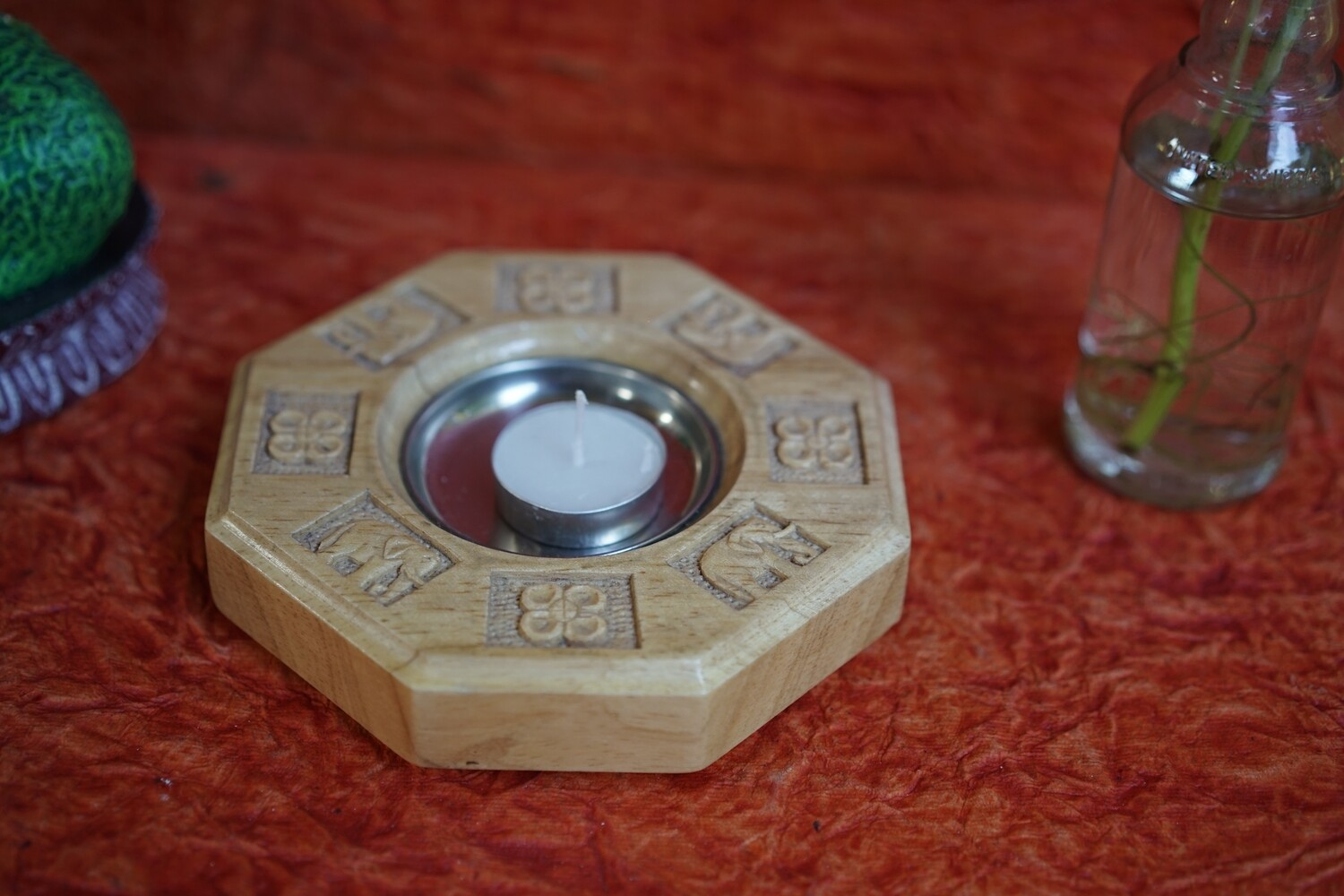 Wooden Octagon Candle Stand with Metal Cup