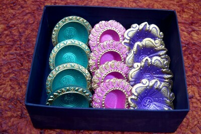 Single Colorful Diya Set - 6 Pair