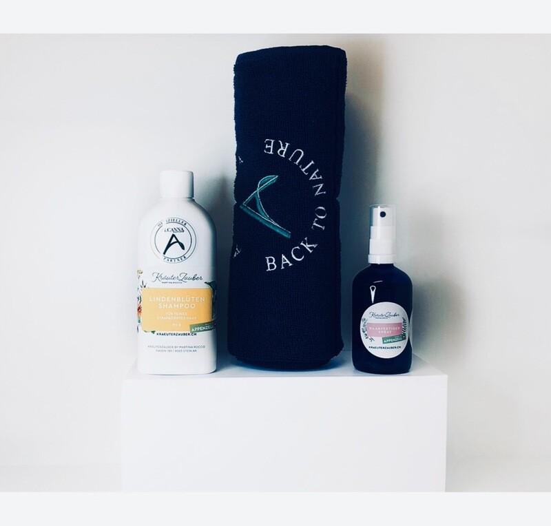 Set - Lindenblüten Shampoo - Haarfestiger Spray - Frottetuch