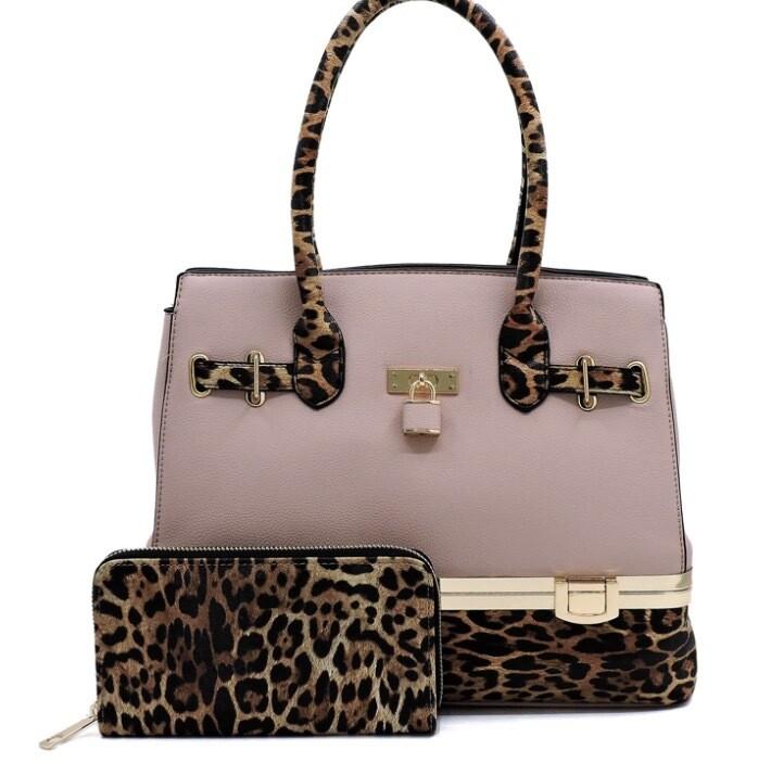 Leopard satchel and wallet set