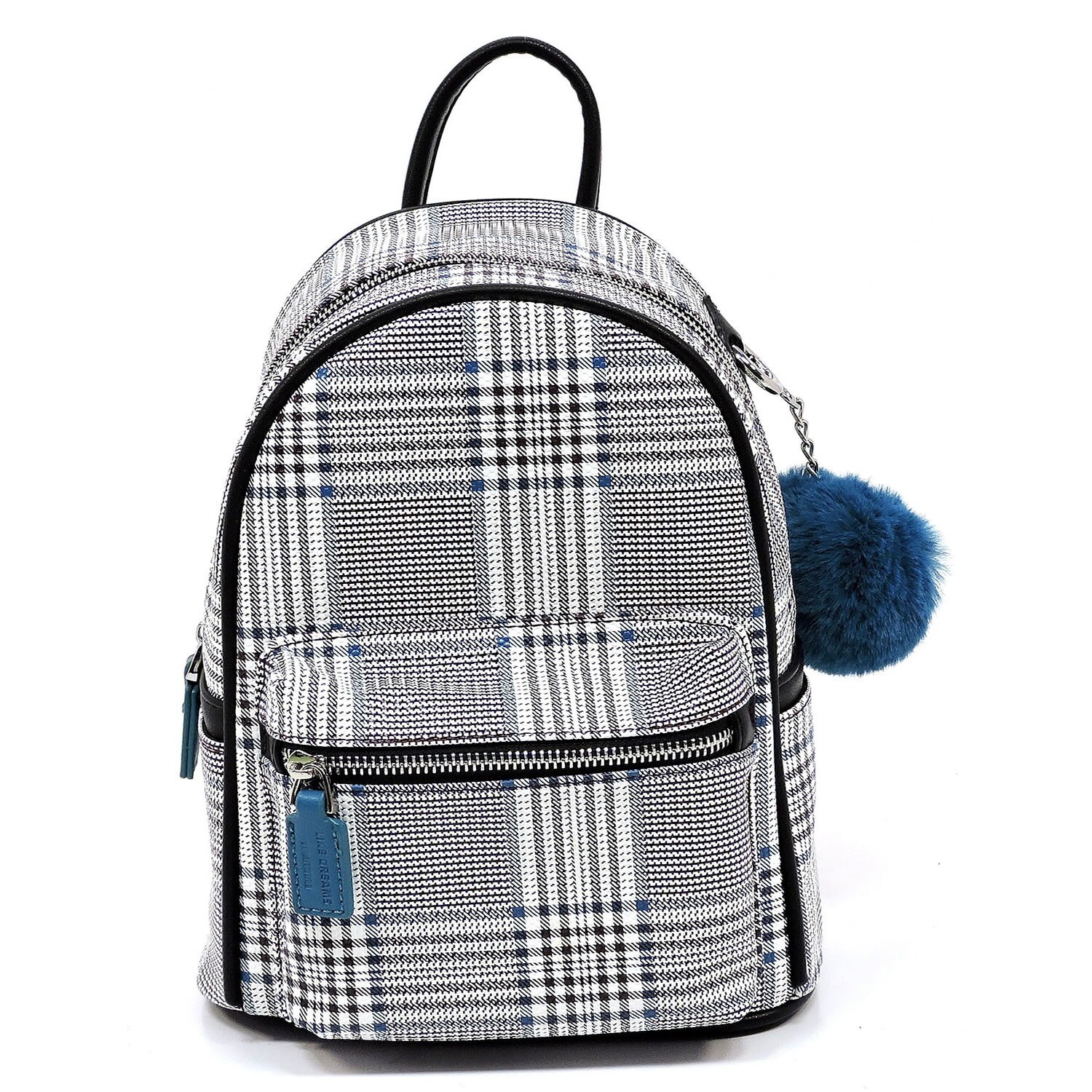 Houndstooth Backpack With Pompom