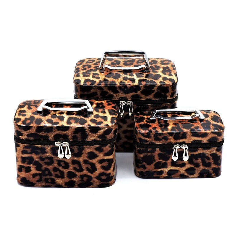 Leopard Print Cosmetic Case Set