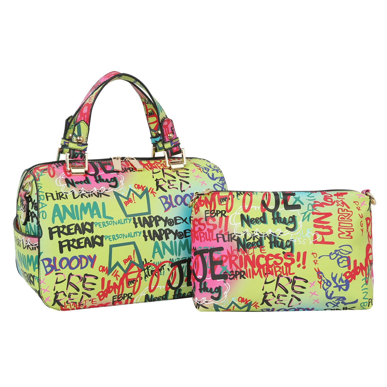 Multicolor Graffiti Handbag and Crossbody Set