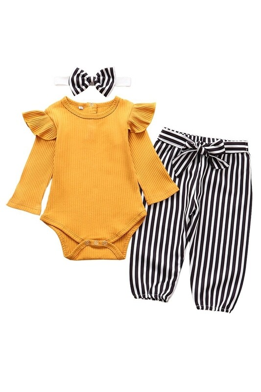 Baby Bodysuit set with head band (Mustard)