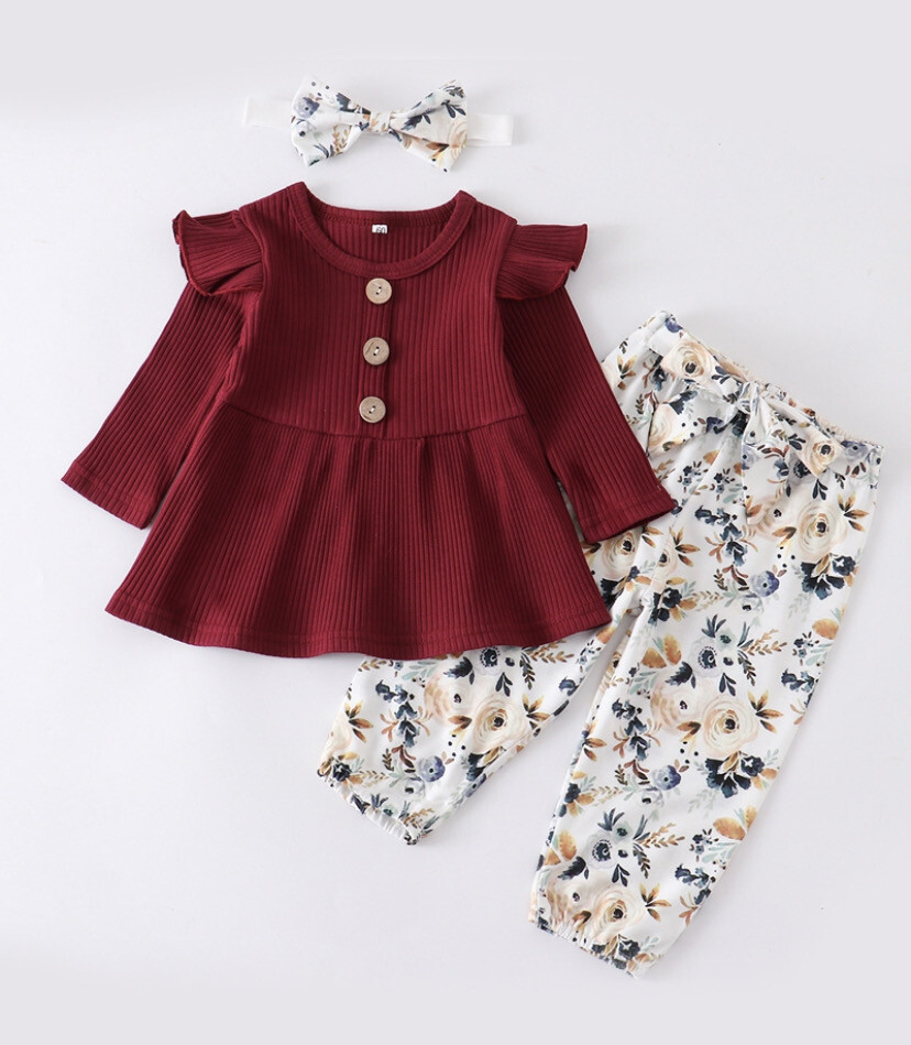 Floral Baby Ruffle Set with Head Band (Maroon)